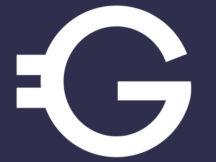 Blaues Logo der Geldfrau