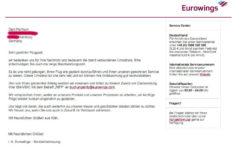 Eurowings reagiert sofort per E-Mail auf meine Forderung nach Entschädigung