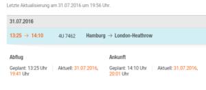 Update für Abflug mit Eurowings nach London, für Entschädigung