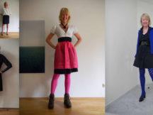 Meike Winnemuth trägt ihr blaues Kleid jeden Tag anders. Eine Collage.