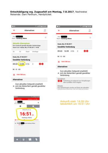 Bei Zugverspätung können Sie auch mit einem Screenshot eine Entschädigung einfordern.