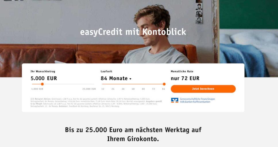 Die Teambank und ihr Kontoblick. Eine heikle Art, einen Kredit zu beantragen.