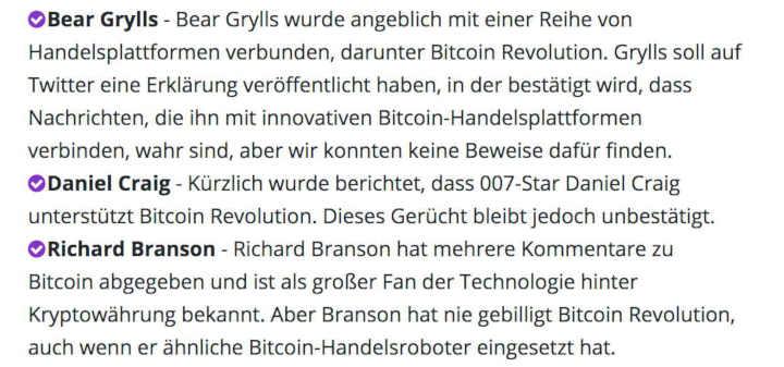 BitcoinRevolution tut alles, um unerfahrene Menschen zu beeinflussen.